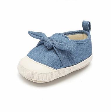 baratos Sapatos de Criança-Para Meninas Jeans Mocassins e Slip-Ons Criança (9m-4ys) Primeiros Passos Laço Cinzento / Azul Primavera Verão