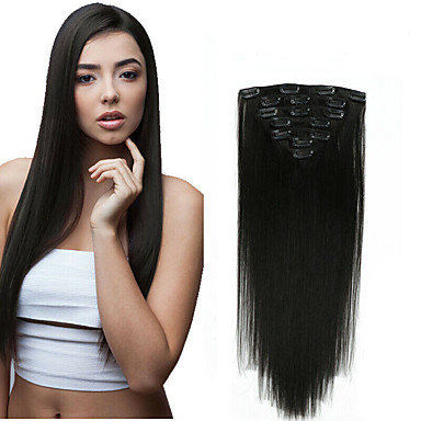 cheap Human Hair Extensions-Clip In Human Hair Extensions Straight Virgin Human Hair Human Hair Extensions 14-20 inch Natural Medium Brown / Strawberry Blonde