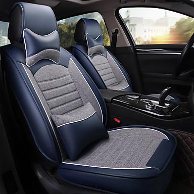 voordelige Auto-interieur accessoires-vier seizoenen universele autostoelhoes met 2 kussens 2 heupkussens voor vijfzits auto / pu leer en linnen materiaal / airbag compatibel / verstelbaar en afneembaar / gezinsauto / suv