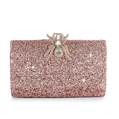 2e321b6d7821 Women s Bags Alloy Evening Bag Buttons   Crystals Solid Color Champagne