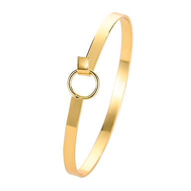 baratos Bangle-Mulheres Bracelete Clássico Estiloso Ferro Pulseira de jóias Dourado / Prata Para Diário