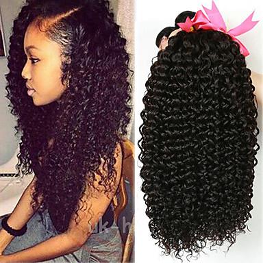 baratos Extensões de Cabelo Natural-4 pacotes Cabelo Brasileiro Kinky Curly 100% Remy Hair Weave Bundles Peça para Cabeça Cabelo Humano Ondulado Cabelo Bundle 8-28 polegada Côr Natural Tramas de cabelo humano Sem Cheiros Sedoso Para