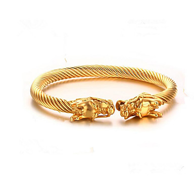 voordelige Herensieraden-Heren Cuff armbanden Klassiek Draak Modieus Titanium Staal Armband sieraden Goud / Zilver / AB witte kleur Voor Lahja Dagelijks / Verguld
