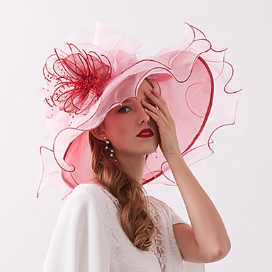 abordables Coiffes-Organza / Plumes Kentucky Derby Hat / Fascinators / Coiffe avec Plume / Fleur / Etagée 1 Pièce Mariage / De plein air Casque