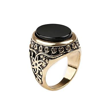 voordelige Herensieraden-Heren Dames Ring Verlovingsring Zegelring 1pc Goud Zilver Legering Ovaal Hip-hop Militair Verloving Lahja Sieraden Retro High School Rings Hamer Goedkoop Klasse Cool