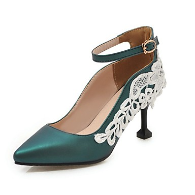 cheap Women's Shoes New Arrivals-Women's PU(Polyurethane) Spring & Summer British / Preppy Heels Kitten Heel Pointed Toe Buckle / Stitching Lace Silver / Green / Pink / Party & Evening