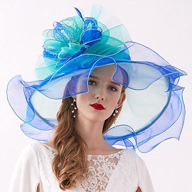 billige Hodeplagg til fest-organza / Fjær Kentucky Derby Hat / fascinators / Hodepryd med Fjær / Blomst / Lag-på-lag 1 Deler Bryllup / utendørs Hodeplagg