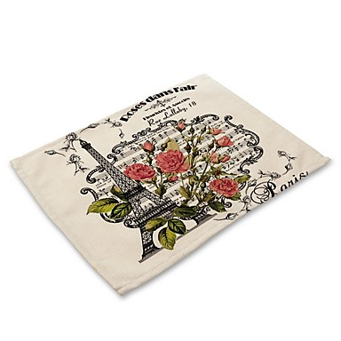 Contemporary Nonwoven Square Placemat Patterned Eco-friendly Table Decorations 1 pcs