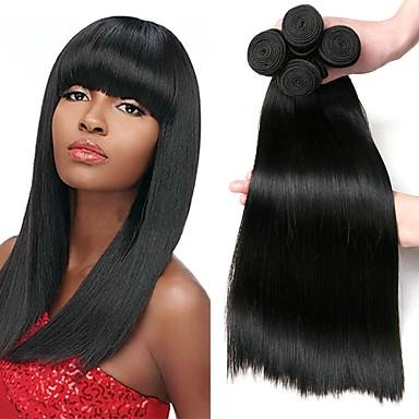 voordelige Weaves van echt haar-4 bundels Braziliaans haar Recht Mensen Remy Haar Menselijk haar weeft Bundle Hair Een Pack Solution 8-28 inch(es) Natuurlijke Kleur Menselijk haar weeft Zacht Beste kwaliteit Dik Extensions van echt