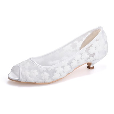 povoljno Ženske cipele-Žene Čipka Proljeće ljeto slatko Vjenčanje Cipele Sitna potpetica Peep Toe Crn / Plava / Pink / Zabava i večer