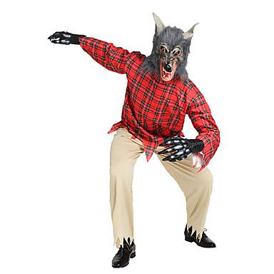 Warewolf Cosplay-Asut Aikuisten Miesten Halloween Halloween Masquerade Festivaali / loma Polyesteria Rubiini Karnevaalipuvut Ruutu / skotti