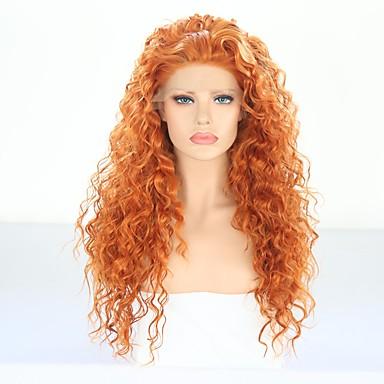 Perruque Lace Front Synthétique Carrie Curl / Kinky Curly Style Avec Mèches Avant Lace Frontale Perruque Doré Orange Cheveux Synthétiques 24 pouce Femme Résistant à la chaleur / Homme Doré Perruque