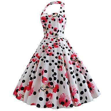 Damen Retro Elegant Hülle Swing Kleid - Rückenfrei Gerüscht, Punkt Blumen Midi