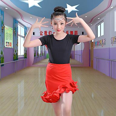 Danse latine / Tenues de Danse pour Enfants Tenue Fille Entraînement / Utilisation Polyester / Spandex Volants en cascade Manches Courtes Jupes / Haut