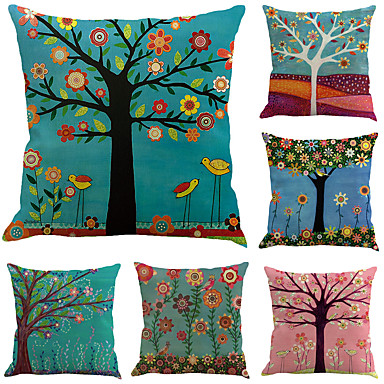 6 Pcs Cotton Linen Pillow Case Botanical Leaf Floral Print Holiday Tropical
