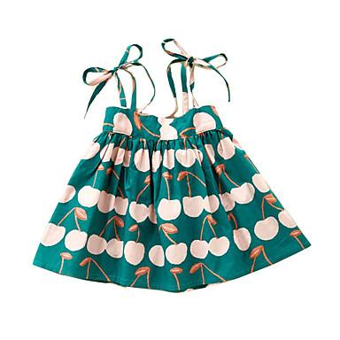 baratos Vestidos para Meninas-Infantil Para Meninas Estilo bonito Fruta Cordões Sem Manga Médio Vestido Verde / Algodão