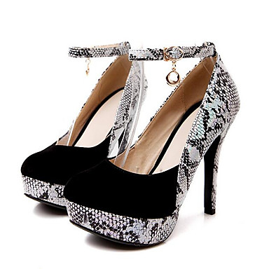 cheap Women's Shoes New Arrivals-Women's PU(Polyurethane) / Snakeskin Spring &  Fall Casual Heels Stiletto Heel Round Toe Black / Red / Daily