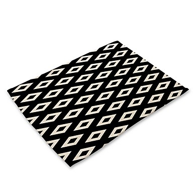 Contemporary Nonwoven Square Placemat Geometric Eco-friendly Table Decorations 1 pcs