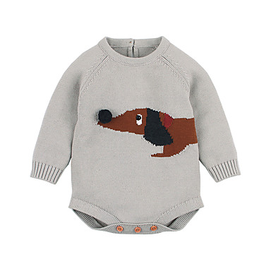رخيصةأون صبيان ملابس الرضع-قطع واحدة قطن كم طويل طباعة أساسي للصبيان طفل / طفل صغير