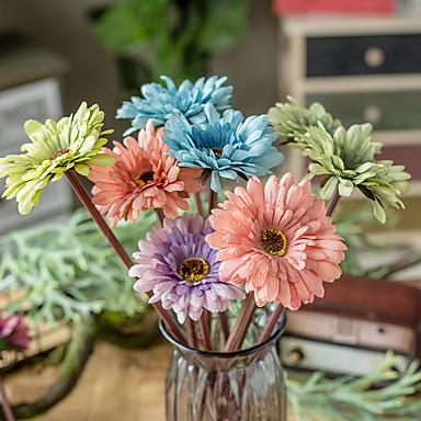 Fleurs artificielles 5 Une succursale Classique Mariage style pastoral Marguerites Chrysanthème Fleurs éternelles Fleur de Table