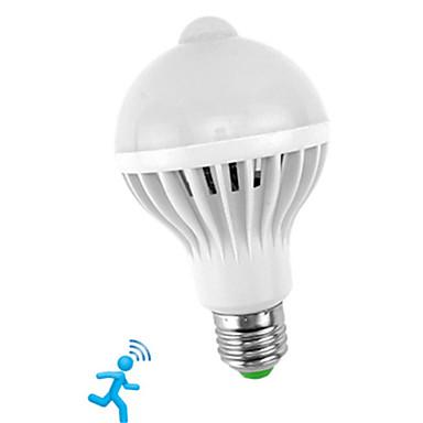 billige Elpærer-1pc 5 W Smart LED-lampe 300-450 lm E26 / E27 10 LED perler SMD 5730 Sensor Smart Infrarød sensor Hvit 85-265 V / RoHs