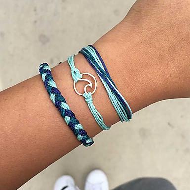 billige Motearmbånd-Dame Vevet Armband Tropisk Bølge Tropisk trendy Avslappet / Sportslig Snor Armbånd Smykker Svart / Blå Til Daglig Arbeid