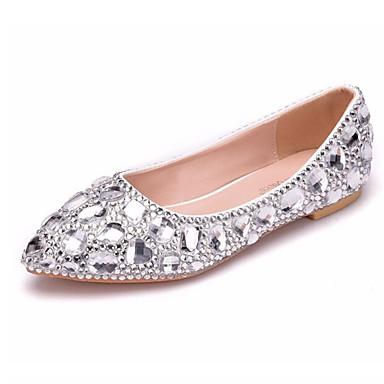 5bb9f8d6681c Women s PU(Polyurethane) Spring   Summer Wedding Shoes Flat Heel Pointed  Toe Rhinestone