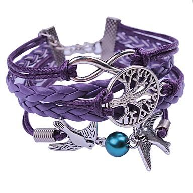 voordelige Herensieraden-Heren Dames Paars Wikkelarmbanden Gevlochten Touw Vogel Hip-hop Rips Armband sieraden Paars Voor Bruiloft Ceremonie
