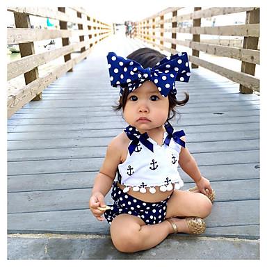 billige Sett med babyklær-Baby Pige Aktiv Trykt mønster Blondér Uden ærmer Kort Bomuld Tøjsæt Navyblå