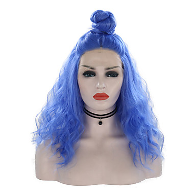 Synthetic Lace Front Wig Curly Style Free Part Lace Front Wig Blue Royal Blue Synthetic Hair 16 inch Women's Adjustable / Heat Resistant / Party Blue Wig Medium Length Cosplay Wig / Yes