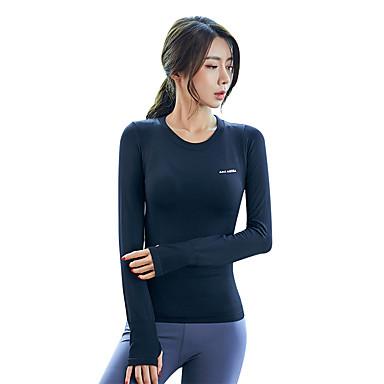 Naisten Patchwork Yoga Top Urheilu Yhtenäinen väri Topit Jooga Kuntosaliharjoitus Pitkähihainen Activewear Kevyt Hengittävä Nopea kuivuminen Hikeä siirtävä Erittäin elastinen