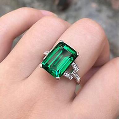 halpa Muotisormukset-Naisten Synteettinen Emerald Sormus Hopeanvärinen Tyylikäs Muotisormukset Korut Vihreä Käyttötarkoitus Päivittäin