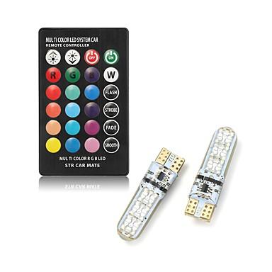 billige Elpærer-2pcs t10 ledet bil dome leser lys biler kil lampe rgb ledet pære med fjernkontrollen