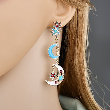 de0cb026bc6 Women s Classic Drop Earrings Earrings Moon Star Classic Vintage Ethnic  Jewelry Rainbow For Party Work Festival 1 Pair