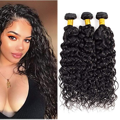 3 Bundler Brasiliansk hår Vand Bølge Remy Menneskehår Menneskehår, Bølget Bundle Hair Hårforlængelse af menneskehår 8-28 inch Naturlig Farve Menneskehår Vævninger Moderigtigt Design Gave Kreativ