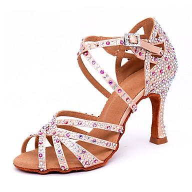 abordables Meilleures Ventes-Femme Satin Chaussures Latines Strass / Boucle Sandale / Talon Talon Bobine Personnalisables Chair / Utilisation
