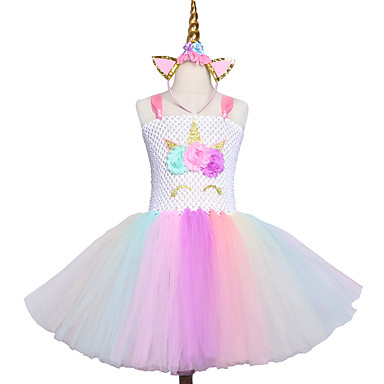 cheap Girls' Dresses-Kids / Toddler Girls' Sweet / Cute Rainbow Mesh Sleeveless Knee-length Spandex Dress