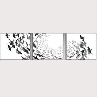 abordables Toiles-Imprimé Impressions sur toile roulées - Animaux Traditionnel Trois Panneaux Art Prints
