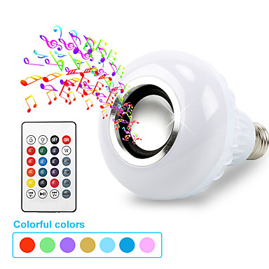 billige Elpærer-smart e27 rgb bluetooth høyttaler ledet pære lys 7w musikk spiller dimbar trådløs led lampe med 24 taster fjernkontroll