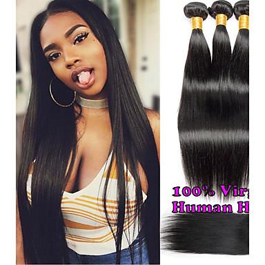 baratos Extensões de Cabelo Natural-3 pacotes com fechamento Cabelo Brasileiro Liso 100% Remy Hair Weave Bundles Cabelo Humano Ondulado Cabelo Bundle Um Pacote de Solução 8-20 polegada Côr Natural Tramas de cabelo humano com o cabelo