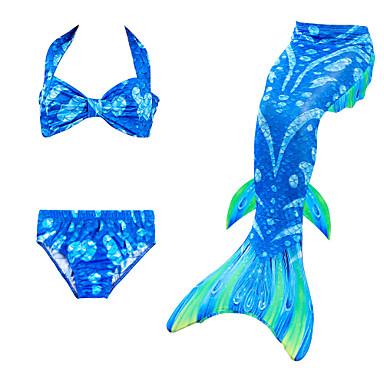 ieftine Haine de Fete-Copii Fete Activ Bloc Culoare Fără manșon Poliester Costum Baie Albastru piscină