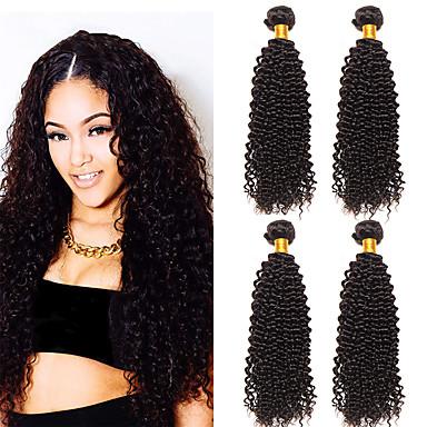 baratos Extensões de Cabelo Natural-4 pacotes Cabelo Malaio Kinky Curly Cabelo Virgem 100% Remy Hair Weave Bundles Cabelo Humano Ondulado Extensões de Cabelo Natural 8-28 polegada Natural Tramas de cabelo humano Segurança S. Valentim