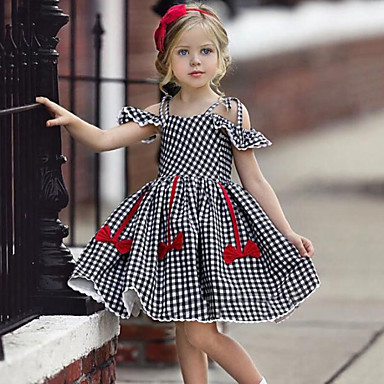 c6447fa40 Baby Girls' Active / Street chic Check / Patchwork Bow / Ruffle Sleeveless  Dress Black / Toddler