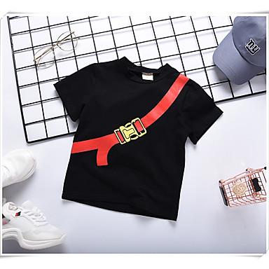 baratos Camisas para Meninos-Infantil Para Meninos Activo Sólido Manga Curta Algodão Camiseta Preto