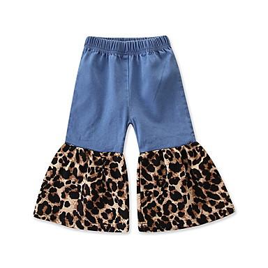 baratos Calças & Leggings para Meninas-Infantil Bébé Para Meninas Activo Básico Leopardo Patchwork Estampado Algodão Calças Azul