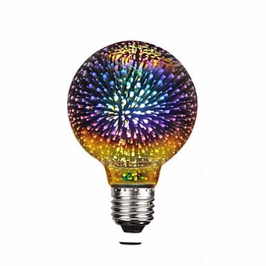 abordables Ampoules électriques-1pc g95 4w led 3d étoile colorée feux d'artifice ampoule (2200k) e26 / e27 ampoules à incandescence base edison ampoule lumière pour maison de vacances décoration décoration led multicolore lampe 220v
