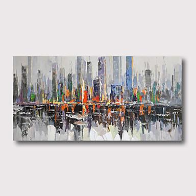 abordables Peintures à l'Huile-Peinture à l'huile Hang-peint Peint à la main - Abstrait Paysage Contemporain Moderne Inclure cadre intérieur