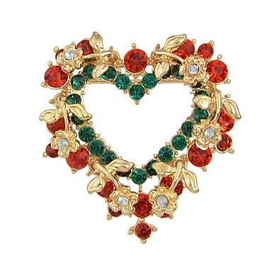 hesapli Moda Broşlar-Kadın's Broşlar Fantezi Sweet Heart Şık Lüks sevimli Stil Yapay Elmas Broş Mücevher Gökküşağı Uyumluluk Noel Mezuniyet Günlük