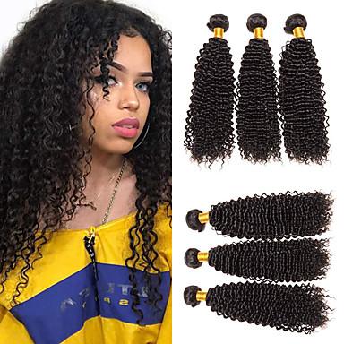 baratos Extensões de Cabelo Natural-6 pacotes Cabelo Malaio Kinky Curly 100% Remy Hair Weave Bundles Cabelo Humano Ondulado Cabelo Bundle Um Pacote de Solução 8-28 polegada Natural Tramas de cabelo humano Sem Cheiros S. Valentim Festa