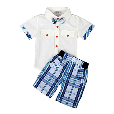cheap Boys' Clothing Sets-Kids / Toddler Boys' Basic Solid Colored / Geometric / Plaid Bow / Print Short Sleeve Regular Regular Cotton / Polyester Clothing Set White
